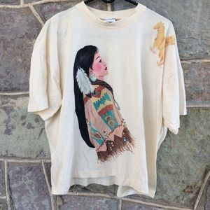 Vintage 90's handpainted Native American woman tee